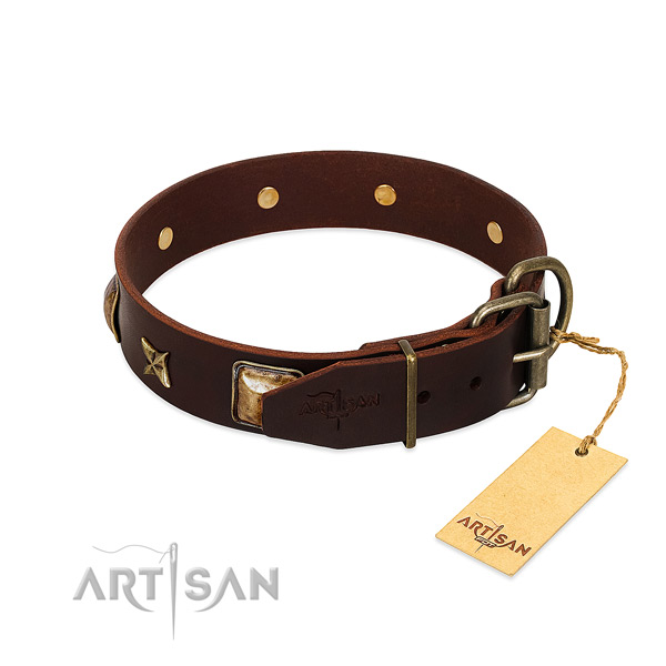 Full grain natural leather dog collar with reliable D-ring and decorations