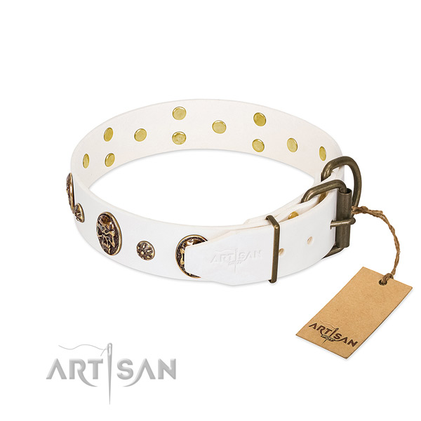Reliable buckle on natural genuine leather dog collar for your canine