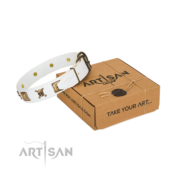 Comfortable wearing soft to touch natural leather dog collar with decorations