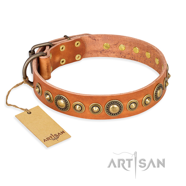 Flexible full grain genuine leather collar made for your dog
