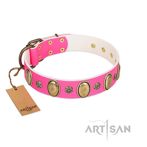 High quality natural leather dog collar with corrosion proof buckle