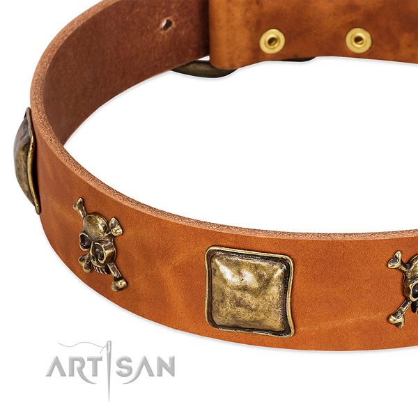 Awesome full grain genuine leather dog collar with durable decorations