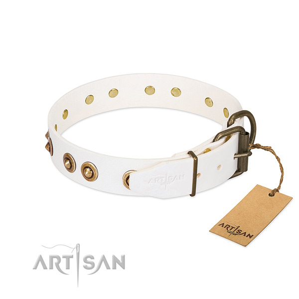 Strong traditional buckle on full grain leather dog collar for your four-legged friend