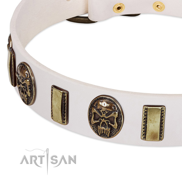 Durable buckle on natural genuine leather dog collar for your dog
