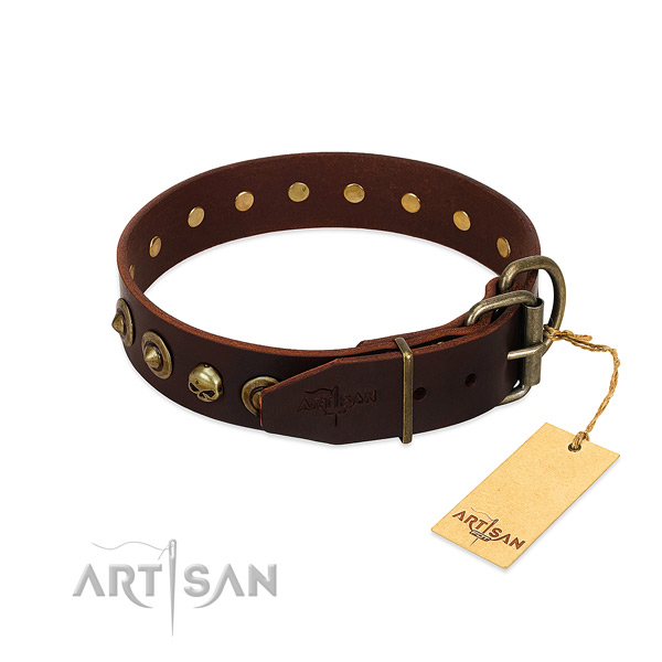 Full grain genuine leather collar with fashionable embellishments for your dog
