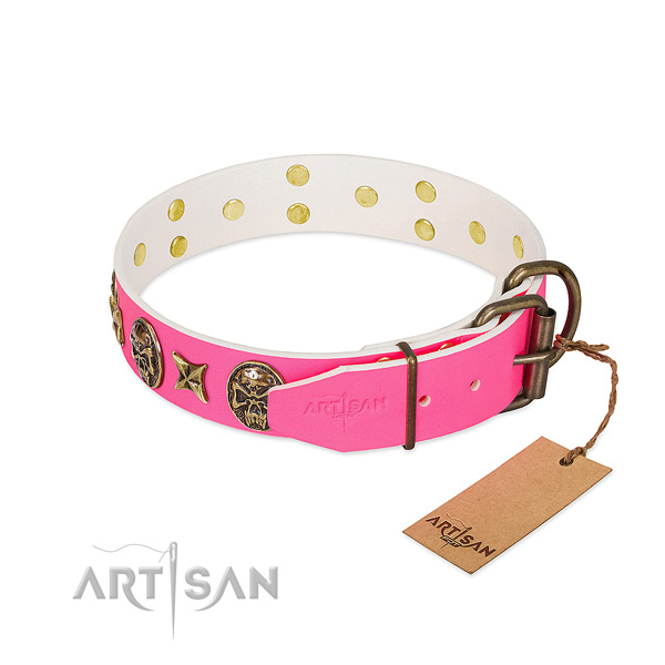 Rust resistant buckle on natural genuine leather collar for fancy walking your pet