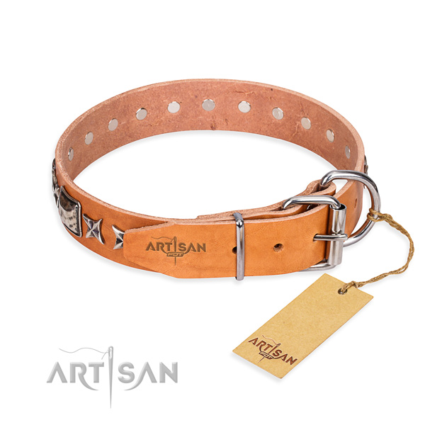 Finest quality studded dog collar of full grain leather