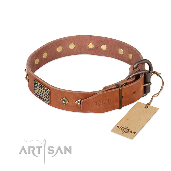 Full grain natural leather dog collar with rust resistant D-ring and decorations