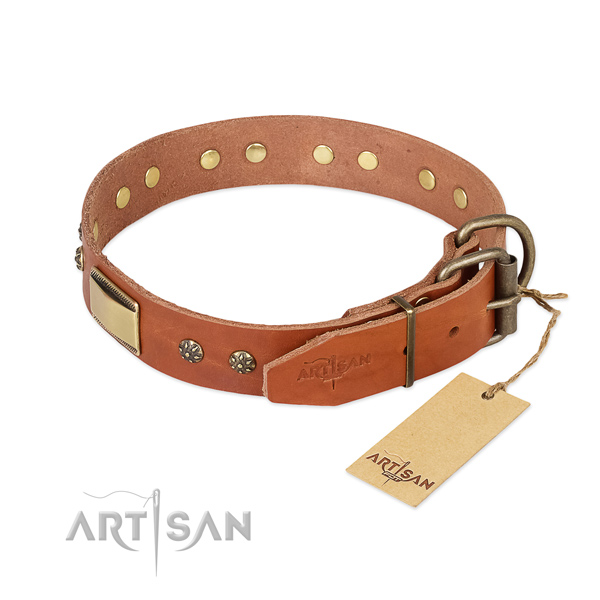 Full grain leather dog collar with rust resistant buckle and decorations