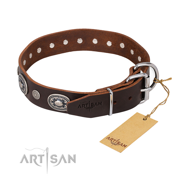 High quality full grain natural leather dog collar handmade for everyday use