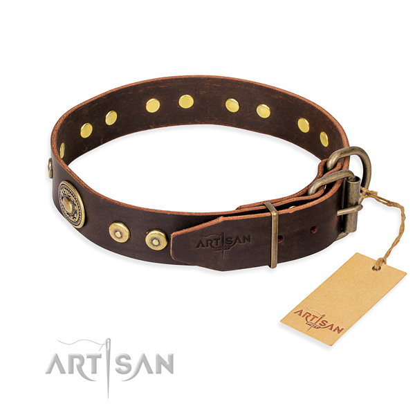 Leather dog collar made of quality material with durable embellishments