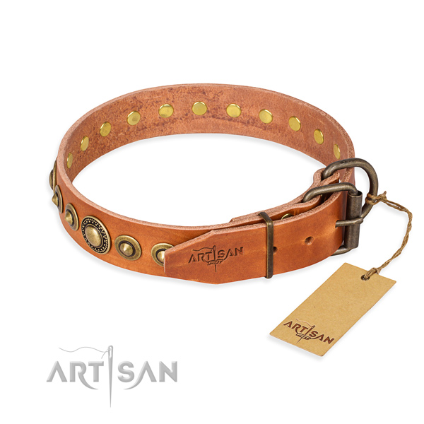 High quality genuine leather dog collar crafted for daily use