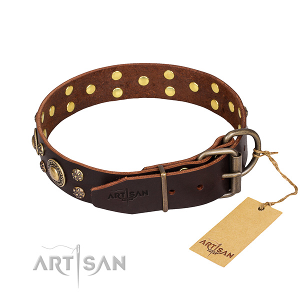 Handy use adorned dog collar of strong full grain natural leather