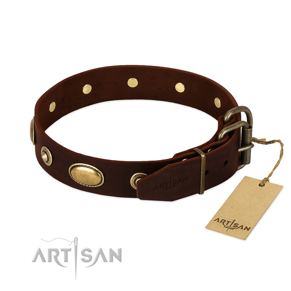Reliable traditional buckle on full grain natural leather dog collar for your canine