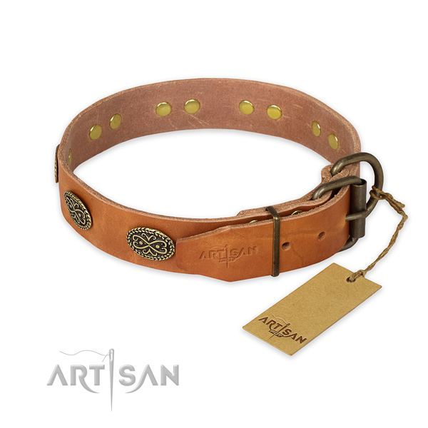 Durable traditional buckle on full grain genuine leather collar for your attractive pet