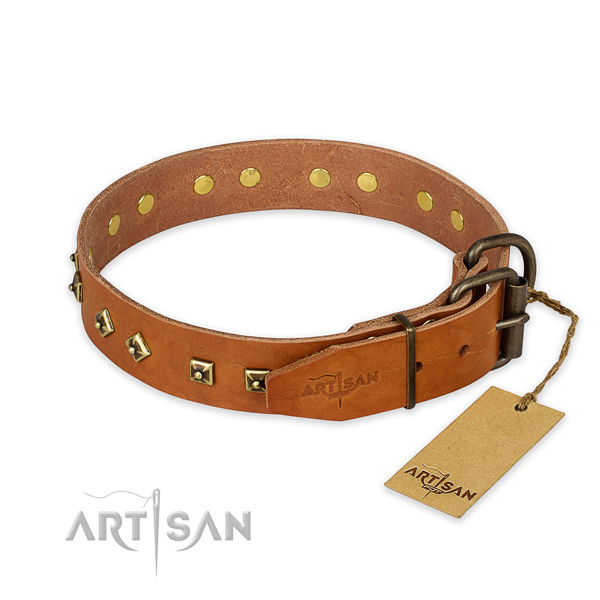 Reliable D-ring on full grain leather collar for stylish walking your four-legged friend