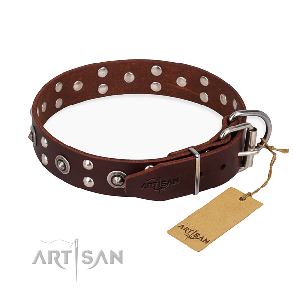 Strong fittings on full grain natural leather collar for your stylish pet