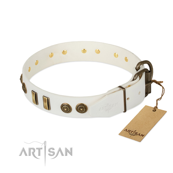 Corrosion proof fittings on full grain leather dog collar for your dog