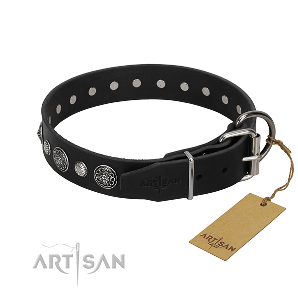Reliable natural leather dog collar with exquisite studs