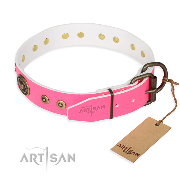 Full grain leather dog collar made of soft to touch material with corrosion resistant decorations