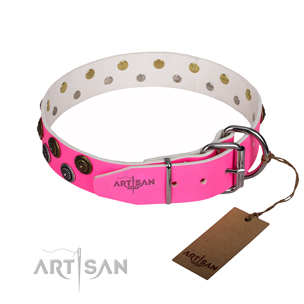Daily use embellished dog collar of best quality genuine leather
