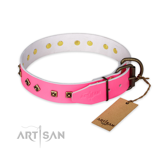 Corrosion proof D-ring on full grain genuine leather collar for fancy walking your pet