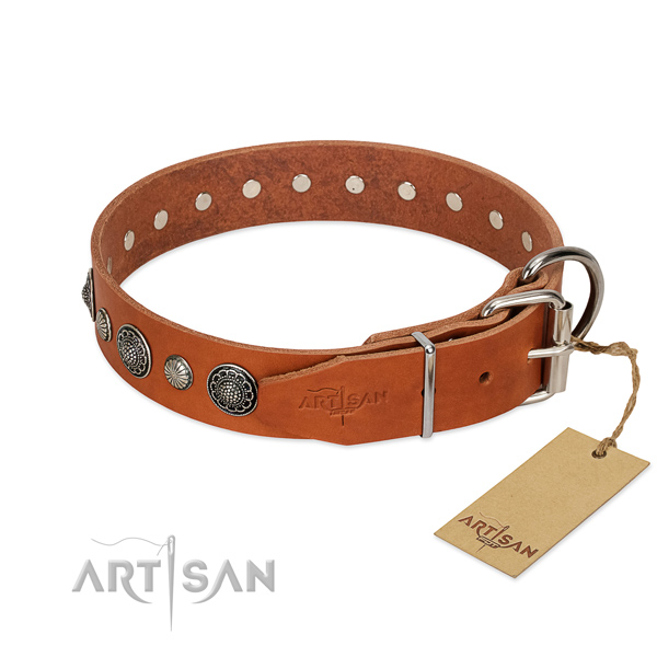 Soft to touch genuine leather dog collar with rust-proof fittings