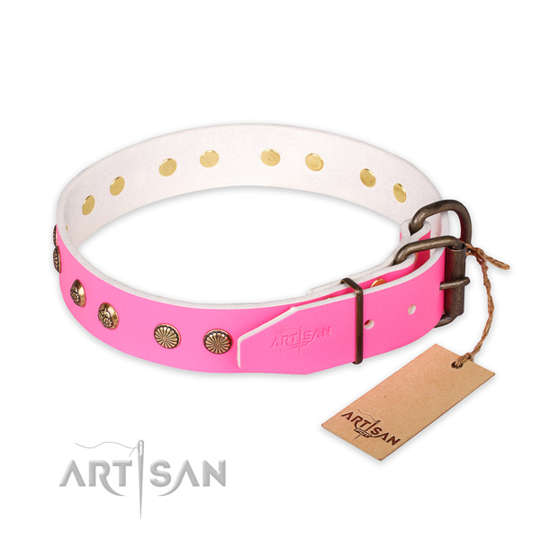 Strong fittings on full grain leather collar for your lovely canine