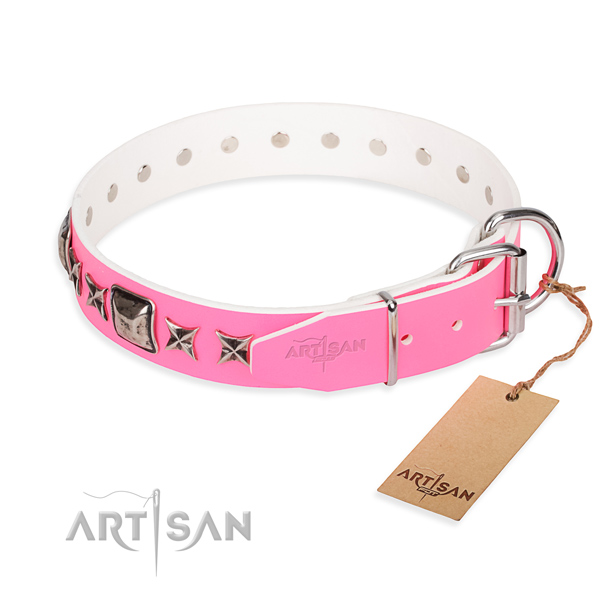 Top notch studded dog collar of genuine leather