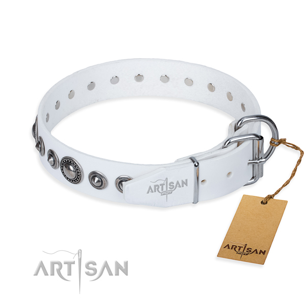 Full grain natural leather dog collar made of flexible material with corrosion proof embellishments