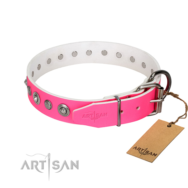 Quality natural leather dog collar with top notch studs