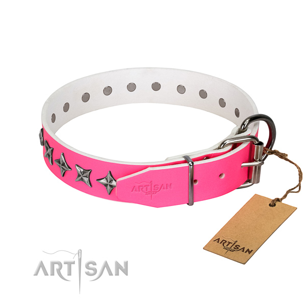Best quality full grain leather dog collar with inimitable decorations