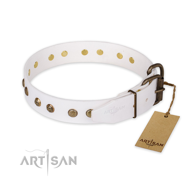 Strong buckle on full grain natural leather collar for your beautiful doggie