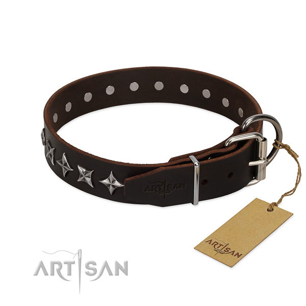 Handy use adorned dog collar of quality leather