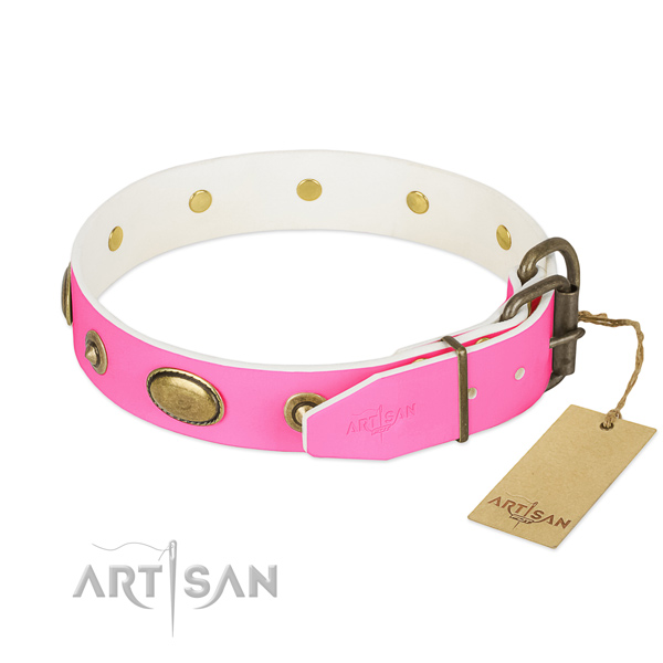 Strong fittings on genuine leather dog collar for your doggie