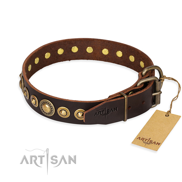 Strong full grain genuine leather dog collar handmade for walking