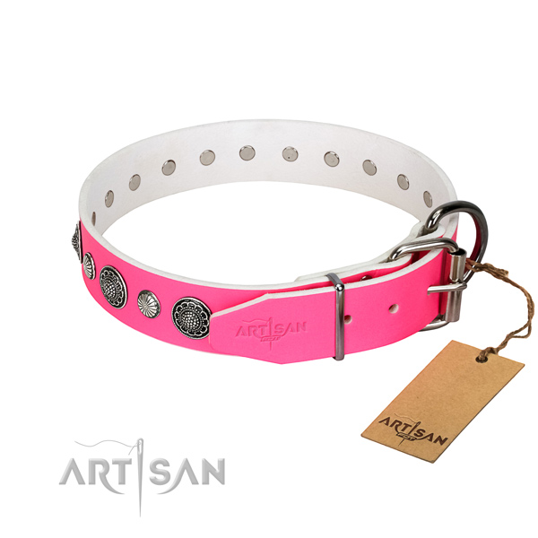 Flexible full grain genuine leather dog collar with corrosion resistant hardware