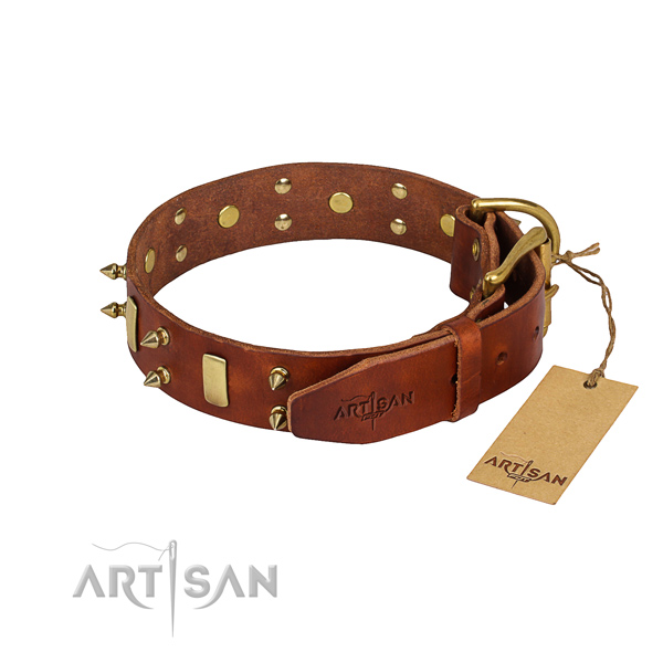 Easy wearing adorned dog collar of best quality leather