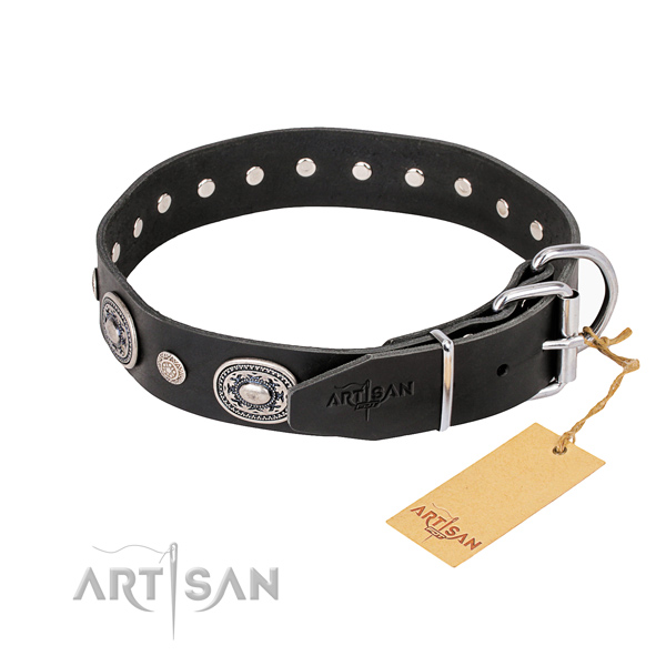 Soft to touch natural genuine leather dog collar created for everyday use