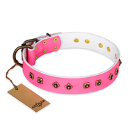 """Magic Pink"" FDT Artisan Decorated Leather Golden Retriever Collar with Old Bronze-Plated Steel Hardware"