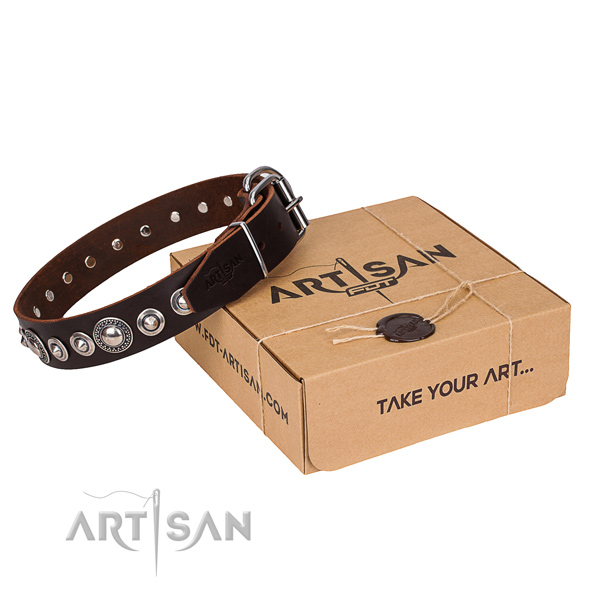 Top quality full grain genuine leather dog collar