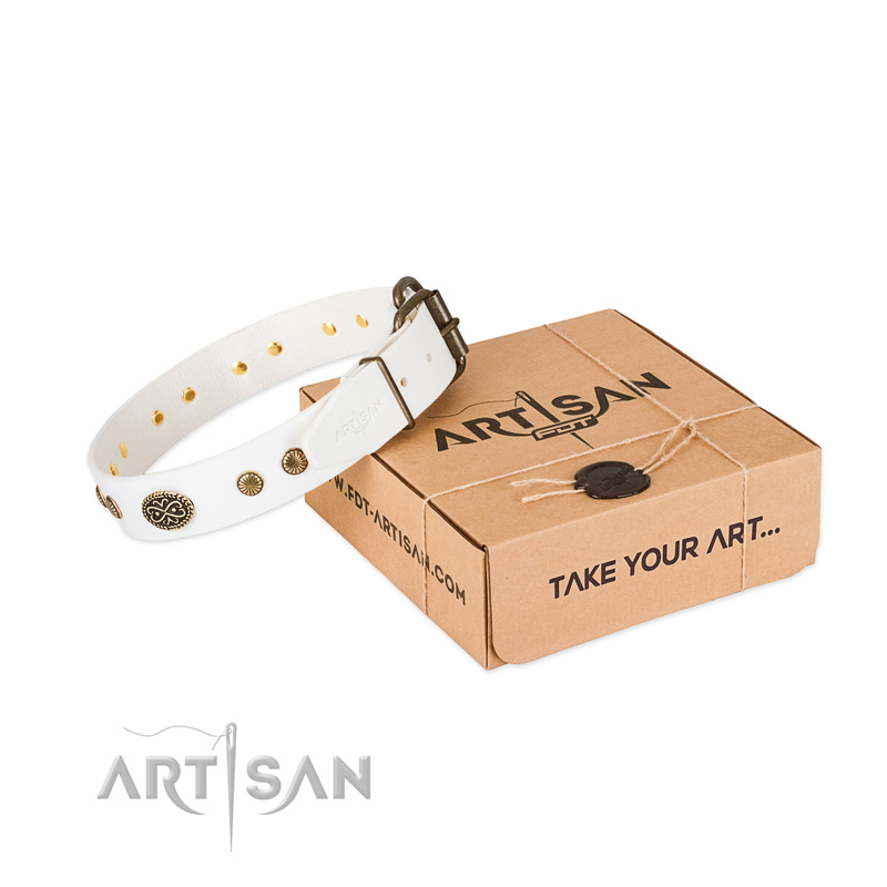 Reliable traditional buckle on full grain natural leather dog collar for your dog