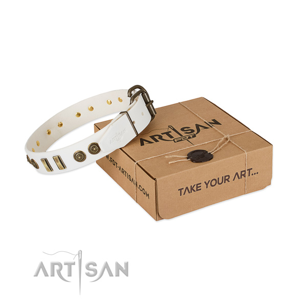 Reliable hardware on leather dog collar for your doggie