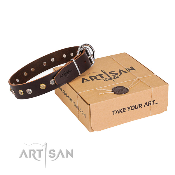 Quality full grain genuine leather dog collar made for comfortable wearing