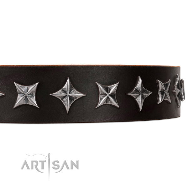 Comfortable wearing adorned dog collar of fine quality full grain natural leather