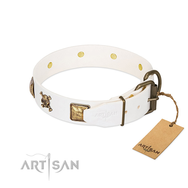 Daily walking natural leather dog collar with fashionable adornments