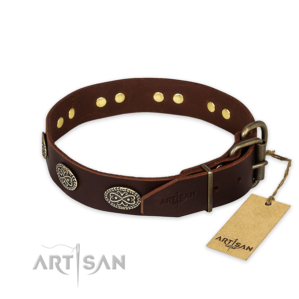 Rust resistant hardware on leather collar for your handsome canine