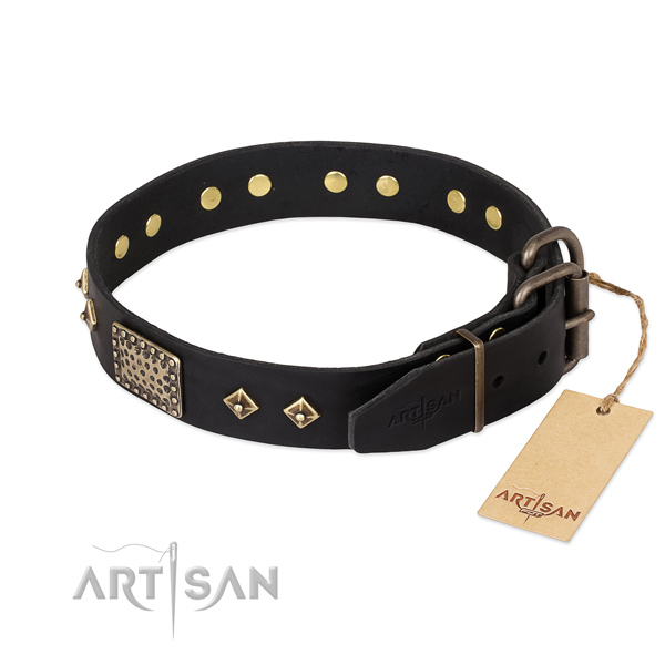 Genuine leather dog collar with reliable D-ring and adornments