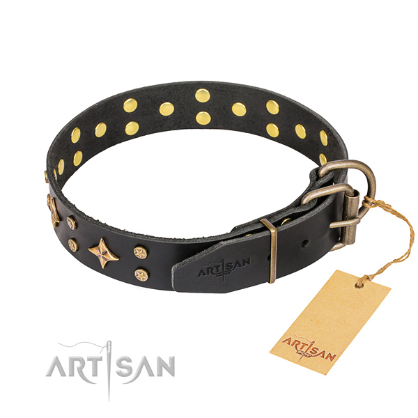 Handy use decorated dog collar of reliable full grain natural leather