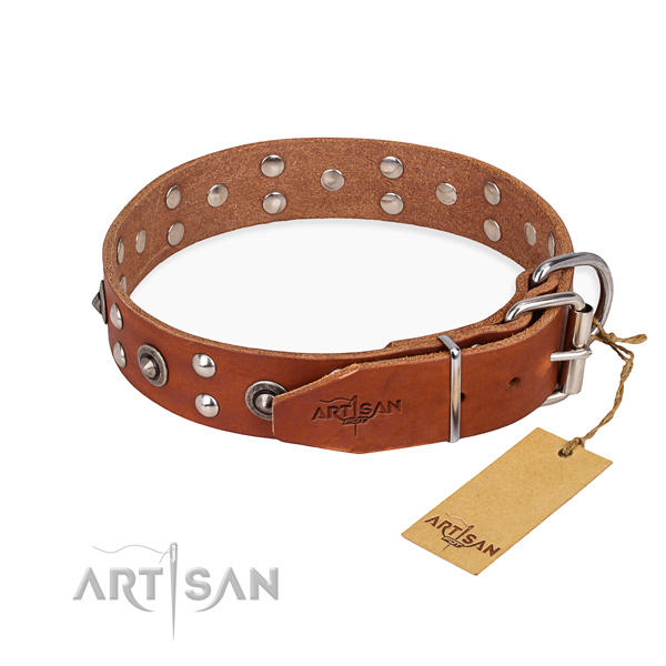 Durable hardware on full grain leather collar for your attractive four-legged friend